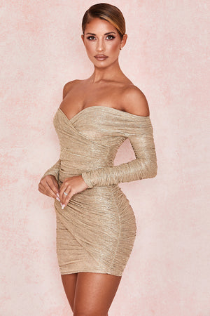 Felicity Gold Ruched Dress