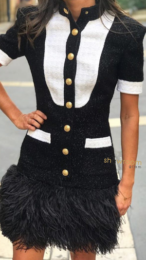 Double Breasted Monochrome Tweed Dress