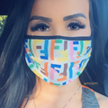 F Rainbow Knit Face Mask