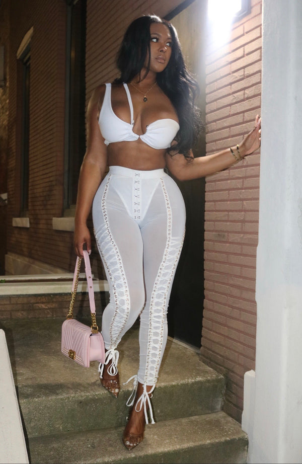 Tie Me Up Pants Set White