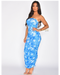 Blue Rays Strapless Dress