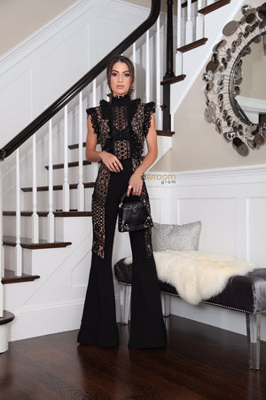 Black Lace Bandage Jumpsuit