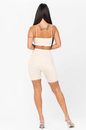 Shirred Shorts Set