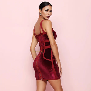 Crimson Velvet Bandage Dress