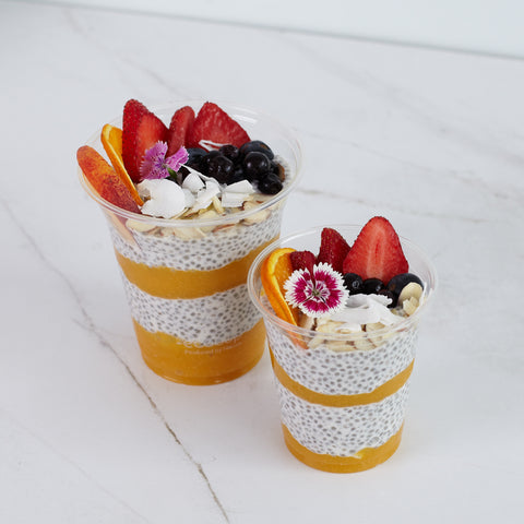 Coconut and Almond Chia Pot with fresh fruit (DF & GF)