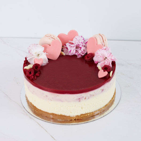 Valentines Cheesecake - White Chocolate & Raspberry