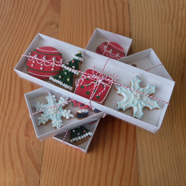 Xmas Cookie Gift Box - 4 Pack Assorted