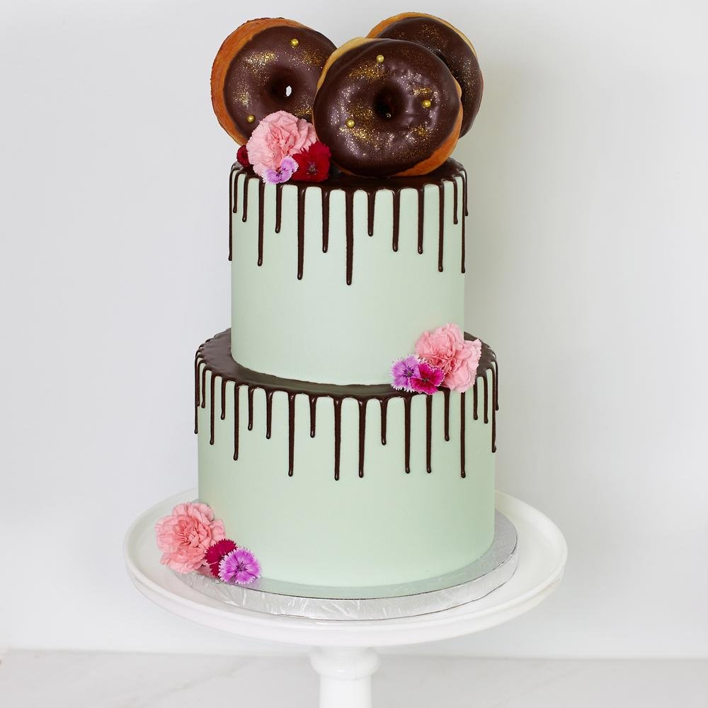 Donut Drizzle Tiered Cake - Bluebells Cakery
