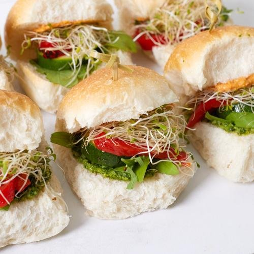 Mini Sliders - Seasonal Veges, Hummus & Vegan Pesto (vgn/df/vege) x 12 - Bluebells Cakery