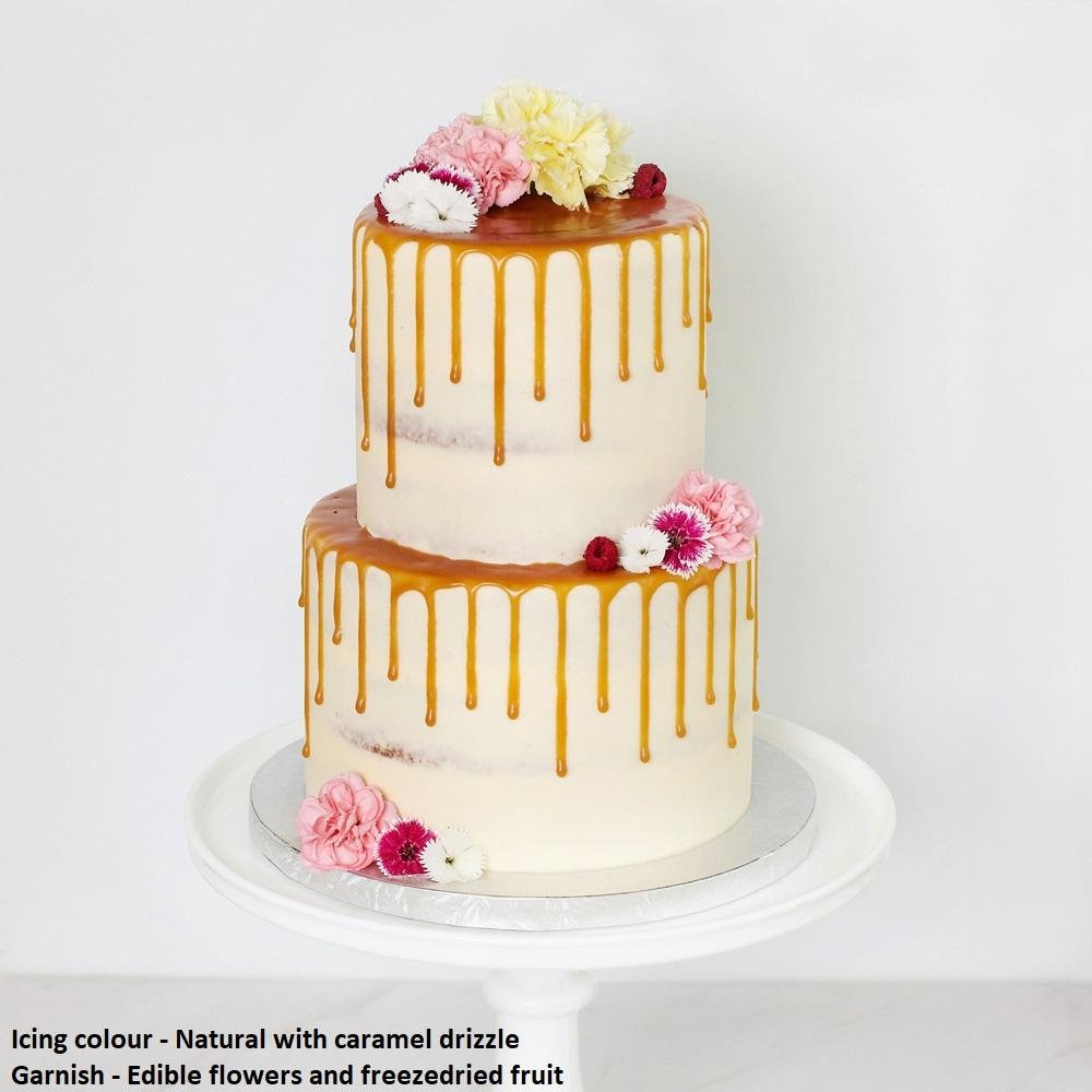 Semi Naked Tiered Cake - Bluebells Cakery