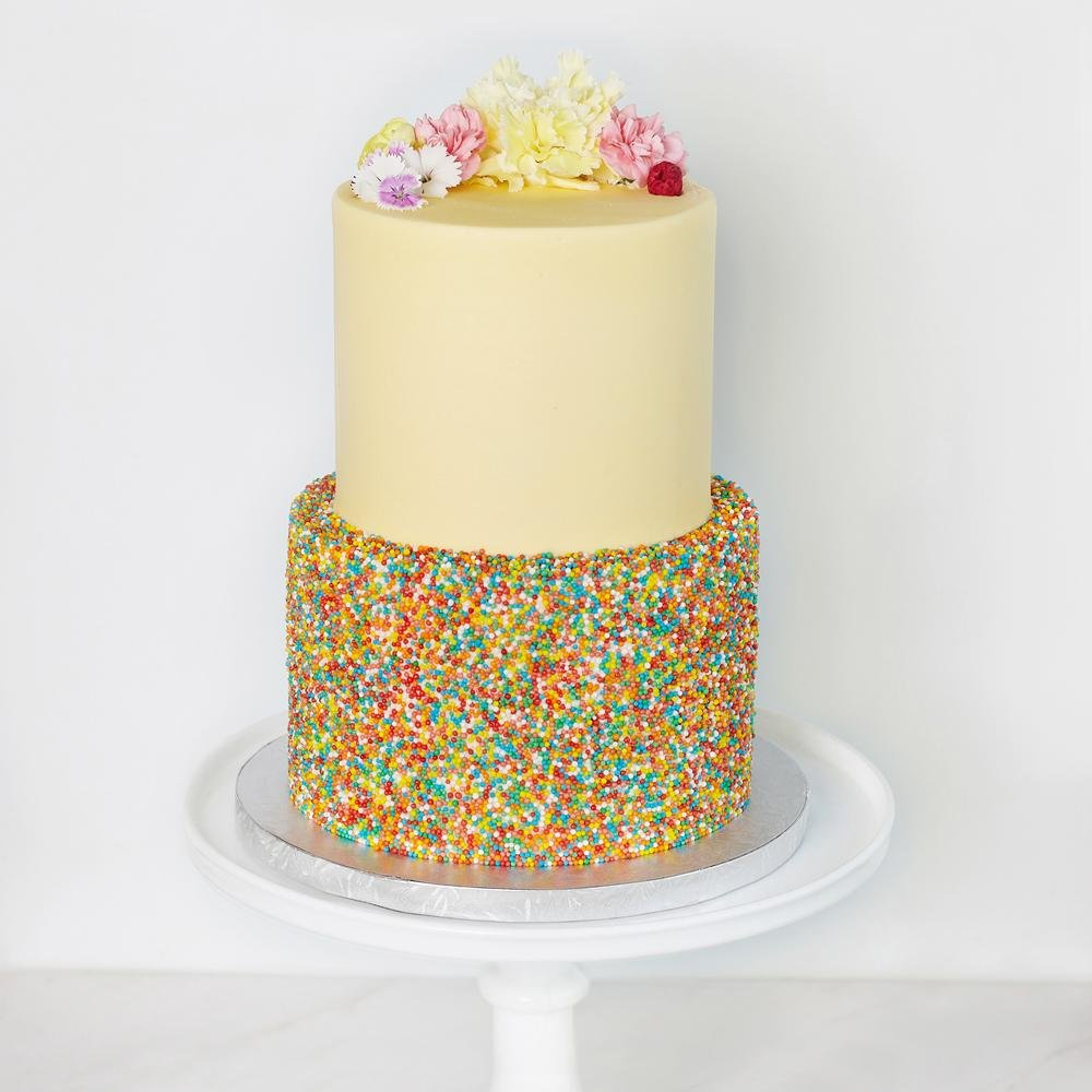 Sprinkle Tiered Cake - Bluebells Cakery