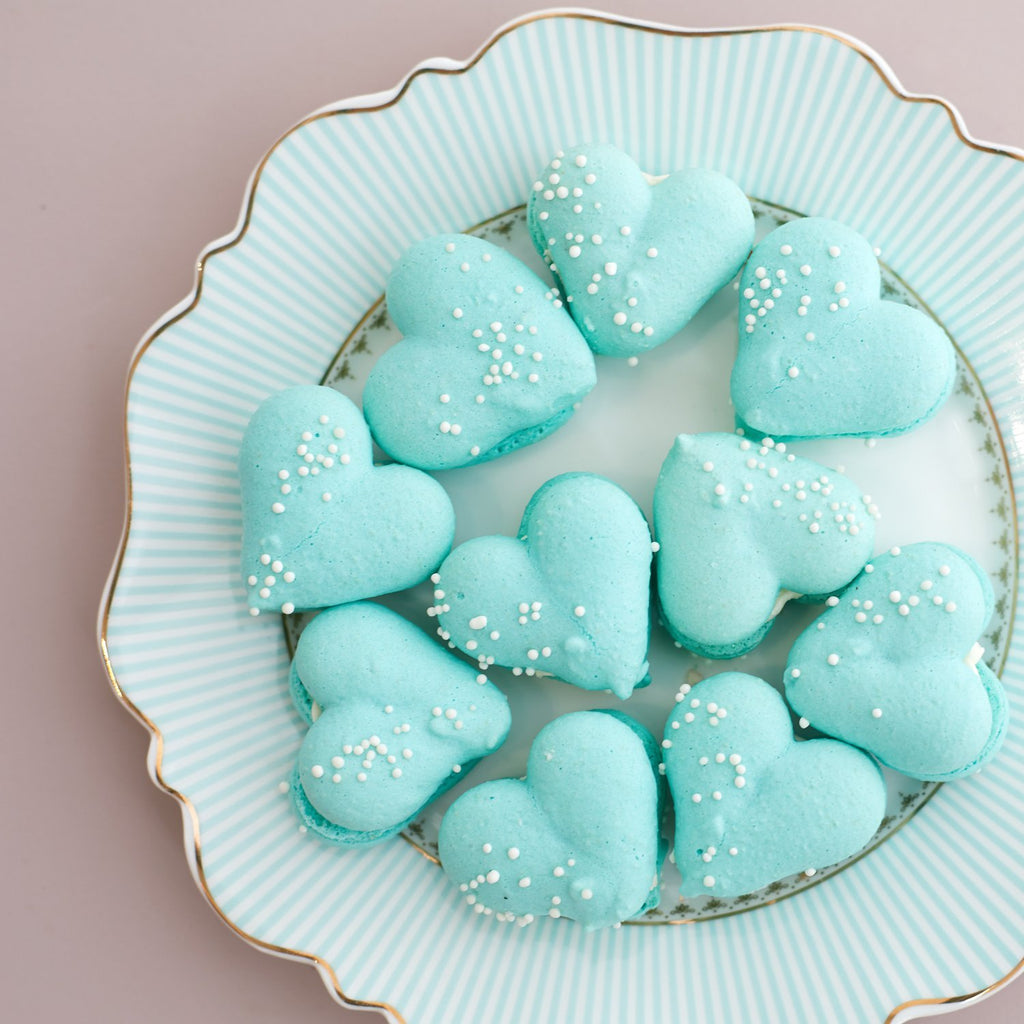 Valentines Mint Heart Macarons - 12 Pack (GF) - Bluebells Cakery