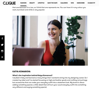Clique Mag about the new co-working showroom with Katya Komarova