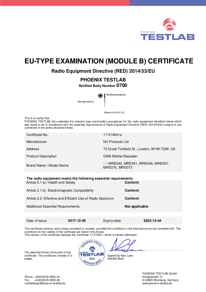 SignalBooster Certification