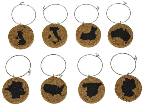 Various Countries Cork Wine Glass Charms - Set of 8