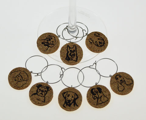 Dog Faces - Cork Wine Glass Charms - Set of 8