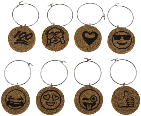 Emoji Themed Cork Wine Glass Charms - Set of 8