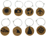 Travel Themed Cork Wine Glass Charms - Set of 8