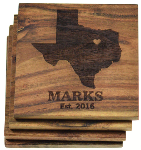 Personalized Coasters Choose Any State (Set of 4)