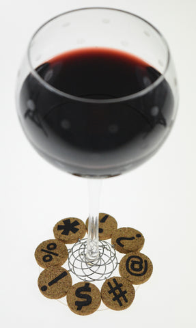 Punctuation Mark Cork Wine Glass Charms - Set of 8
