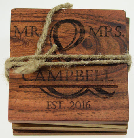 Personalized Coasters Mr. and Mrs. (Set of 4)