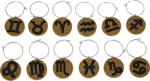 Zodiac Themed Cork Glass Charms - Set of 12