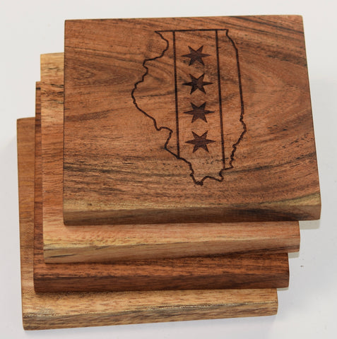 Illinois Outline with Chicago Flag Coasters