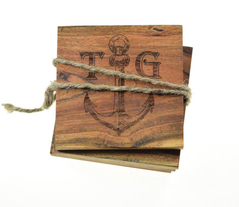 Personalized Anchor Coasters (Set of 4)