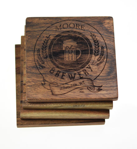 Personalized Home Bar Brewery Coasters (Set of 4)