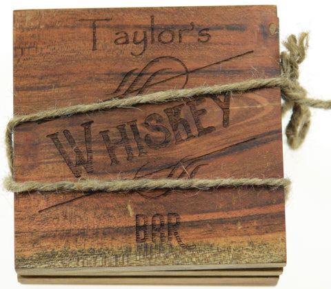 "Personalized Home Bar Coasters ""Whiskey Bar"" (Set of 4)"