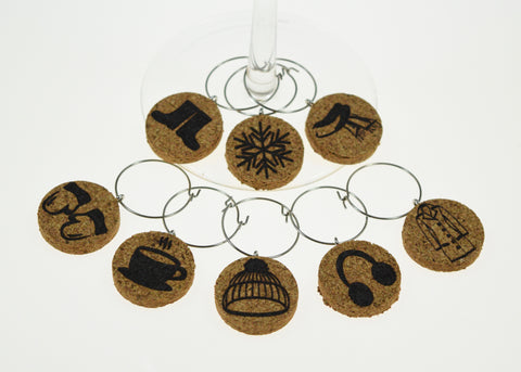 Winter Themed Cork Wine Glass Charms - Set of 8
