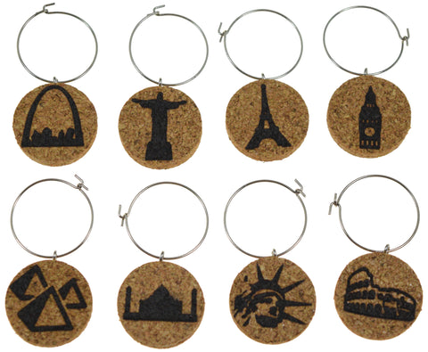 World Landmark - Cork Wine Glass Charms - Set of 8