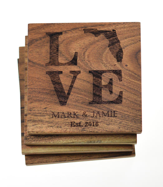 Personalized Coasters State and Names (Set of 4)