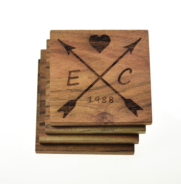 Personalized Coasters with Arrows and Initials (Set of 4)