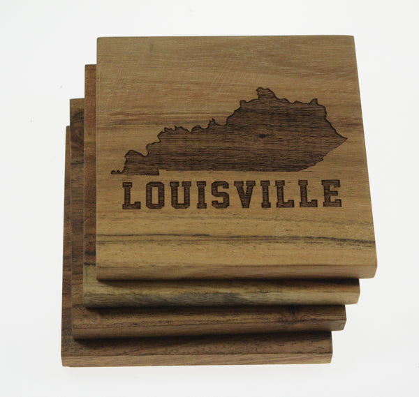 Louisville with Kentucky Outline Coasters