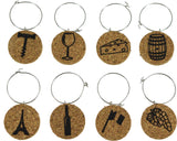 Wine Themed Cork Wine Glass Charms - Set of 8