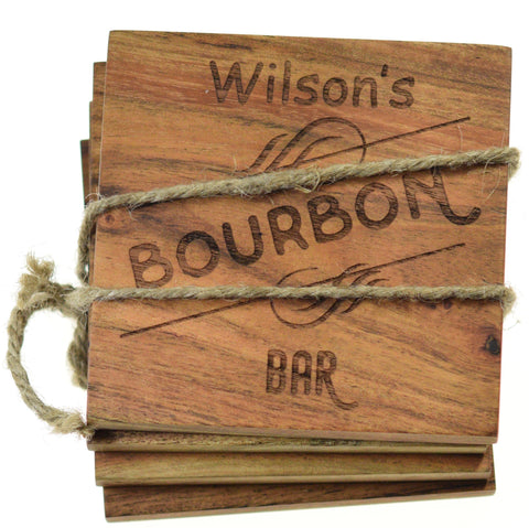"Personalized Home Bar Coasters ""Bourbon Bar"" (Set of 4)"