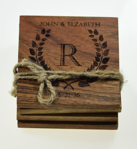 Personalized Olive Branch Initial Coasters (Set of 4)