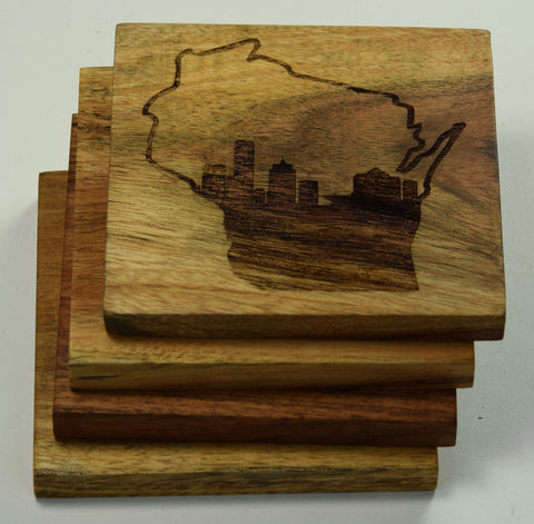 Milwaukee Skyline in Wisconsin Outline Coasters