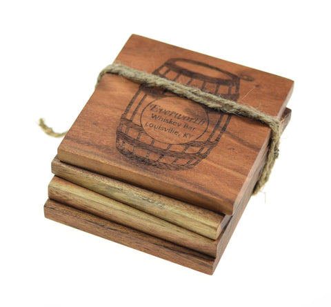 Personalized Bourbon Barrel Coasters (Set of 4)