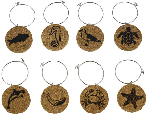 Nautical Animals - Cork Wine Glass Charms - Set of 8
