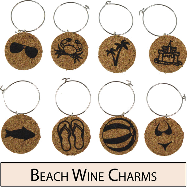 Beach Themed Cork Wine Glass Charms - Set of 8
