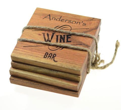 "Personalized Home Bar Coasters ""Wine Bar"" (Set of 4)"