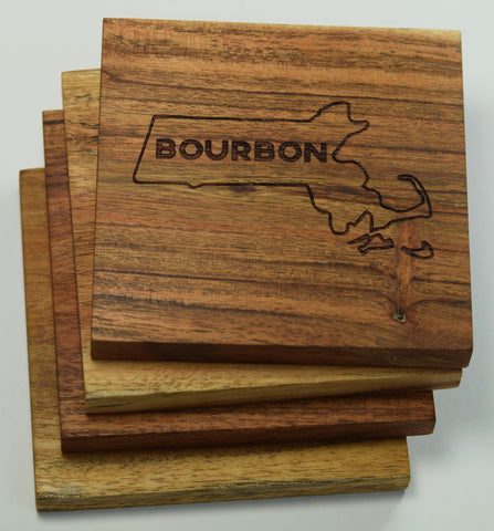 Boston Massachusetts Bourbon Coasters