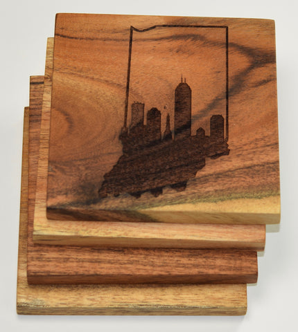 Indianapolis Skyline within Indiana Outline Coasters