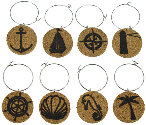 Nautical Themed Cork Wine Glass Charms - Set of 8