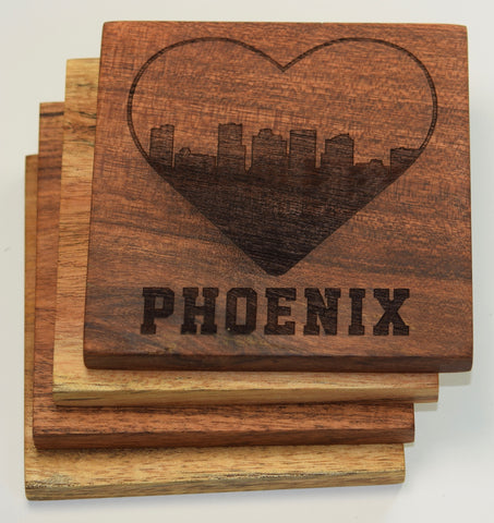 I Love Phoenix Arizona Skyline Coasters