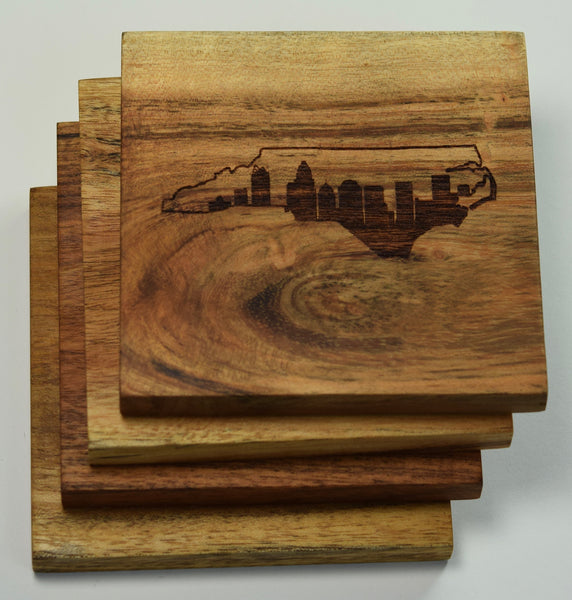Charlotte North Carolina Skyline within State Outline Coasters