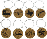 Texas Themed Cork Wine Glass Charms - Set of 8