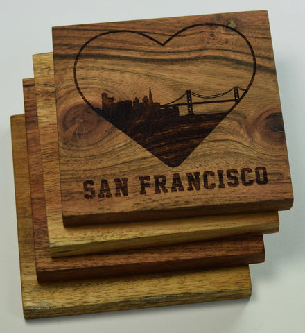 I Love San Francisco California Coasters - Set of Four